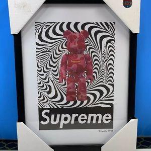 Supreme x Kaws x Fairchild Paris framed printed